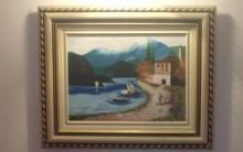 Pintura em Tela em Acrílico de Paisagem Marítima para Fazer e Vender