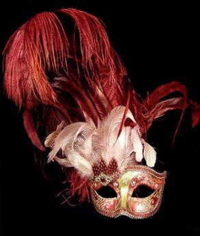 mascara vermelha com plumas Máscaras Venezianas para Bailes   Lindos Modelos e Lojas para Comprar