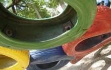 Jardim de Pneus Coloridos Sobrepostos – Passo-a-passo