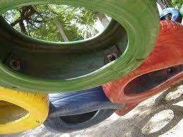 pneus coloridos Jardim de Pneus Coloridos Sobrepostos   Passo a passo