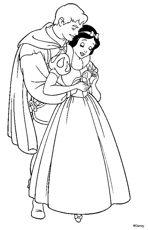 branca de neve Branca de Neve Melhores Desenhos para Colorir: Anões e Lindo Príncipe