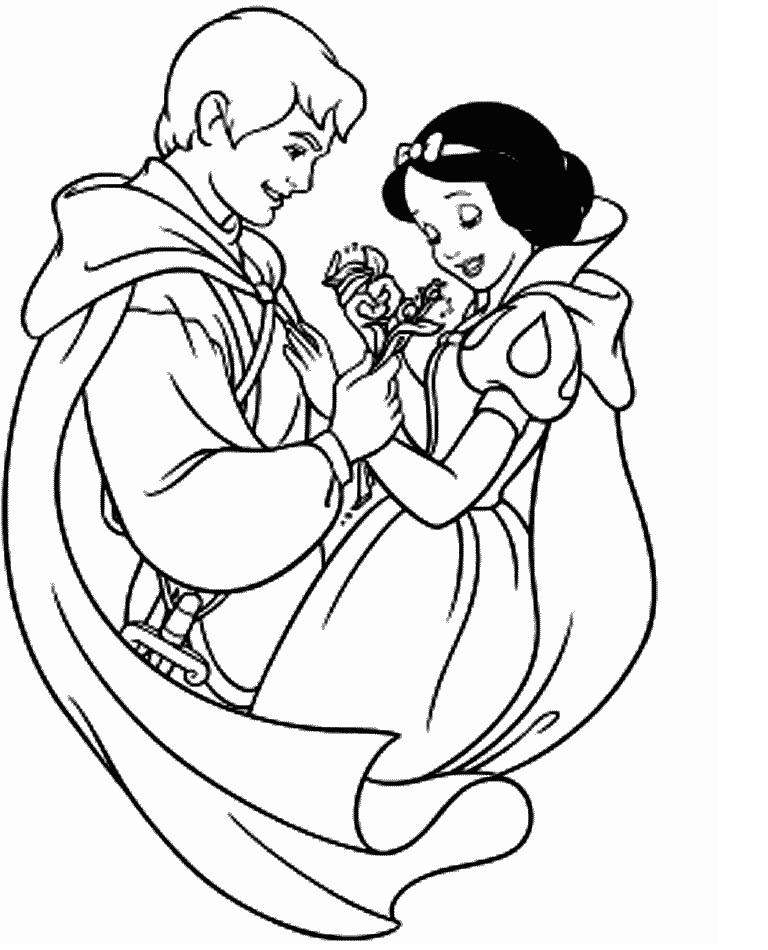 pintar branca de neve Branca de Neve Melhores Desenhos para Colorir: Anões e Lindo Príncipe