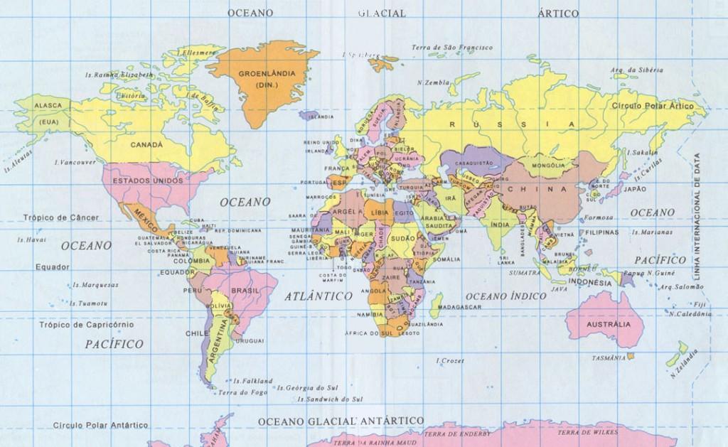 projecao de robinson 1024x629 Tipos de Projeção Cartográfica: Conforme, Equivalente e Equidistante