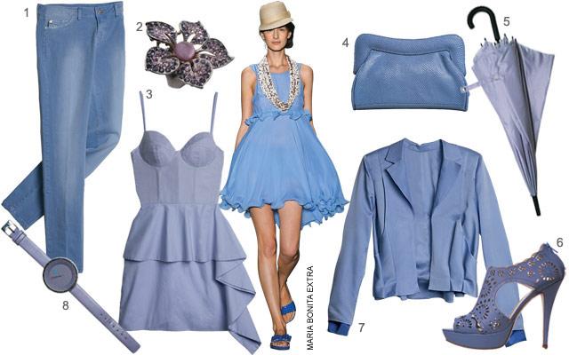 moda cor azul 2012 Moda Azul Verão 2012:Tons Azul Celeste e Royal Modelos Acessórios Dicas
