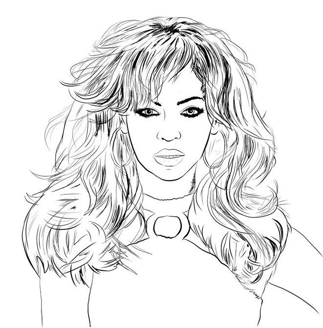 beyonce desenho colorir Desenhos de Celebridades para Colorir: Imagens de Famosos para Pintar