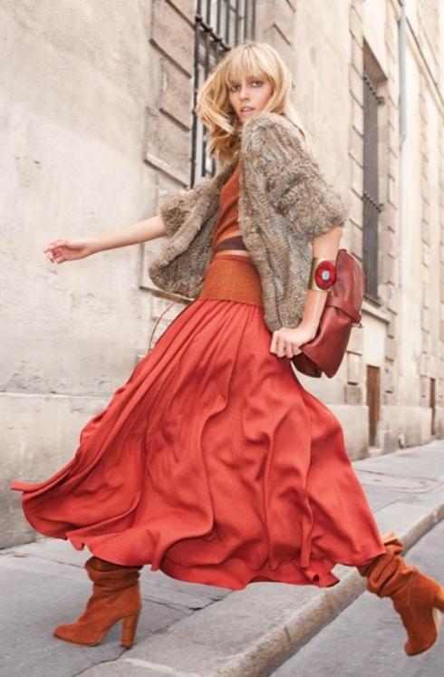saia longa laranja Moda das Saias Longas Verão 2012: Modelos das Famosas, Cores e Dicas