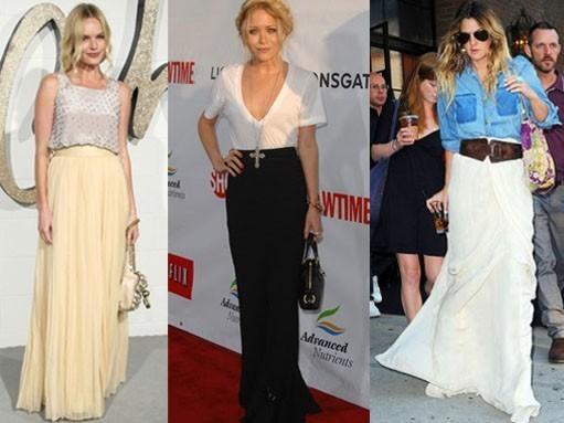 saias longas famosas Moda das Saias Longas Verão 2012: Modelos das Famosas, Cores e Dicas