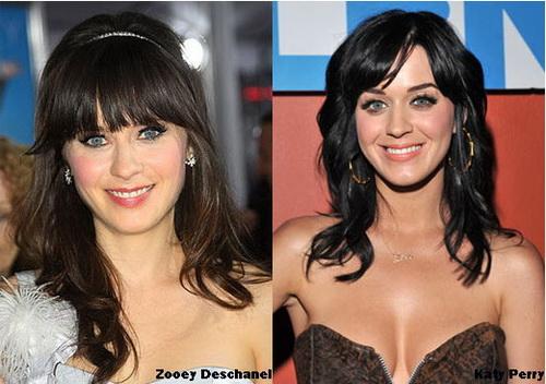 zooey deschanel e katy Celebridades Parecidas: Fotos de Famosos que parecem Gêmeos Idênticos