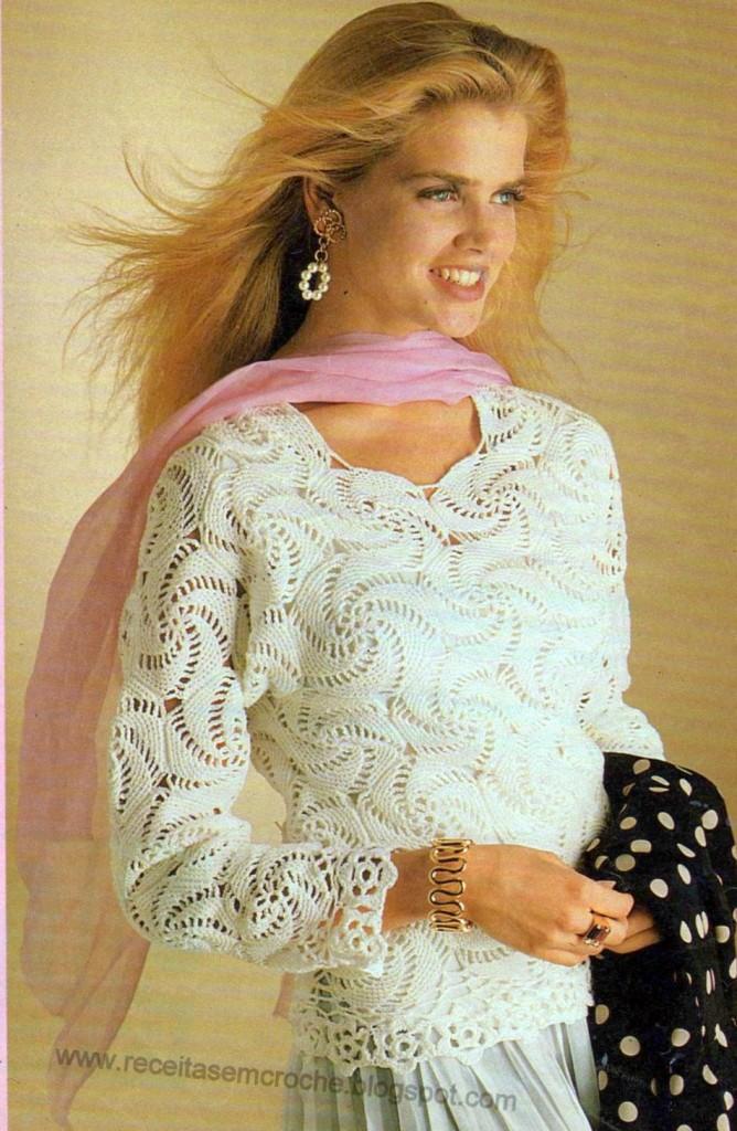 blusa com croche espiral 1 668x1024 Blusas Rendadas em Crochê da Moda   Confira Lindos Modelos e Gráficos