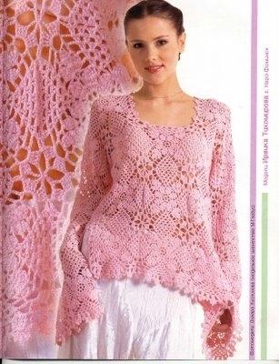 blusa croche rosa Blusas Rendadas em Crochê da Moda   Confira Lindos Modelos e Gráficos