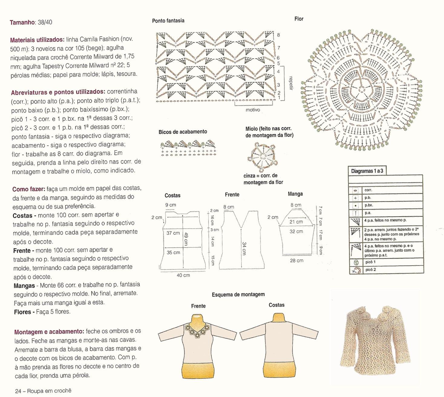 blusa rendada com flores no decote 001 Blusas Rendadas em Crochê da Moda   Confira Lindos Modelos e Gráficos