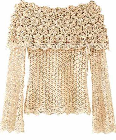 blusa rendada com rosas Blusas Rendadas em Crochê da Moda   Confira Lindos Modelos e Gráficos