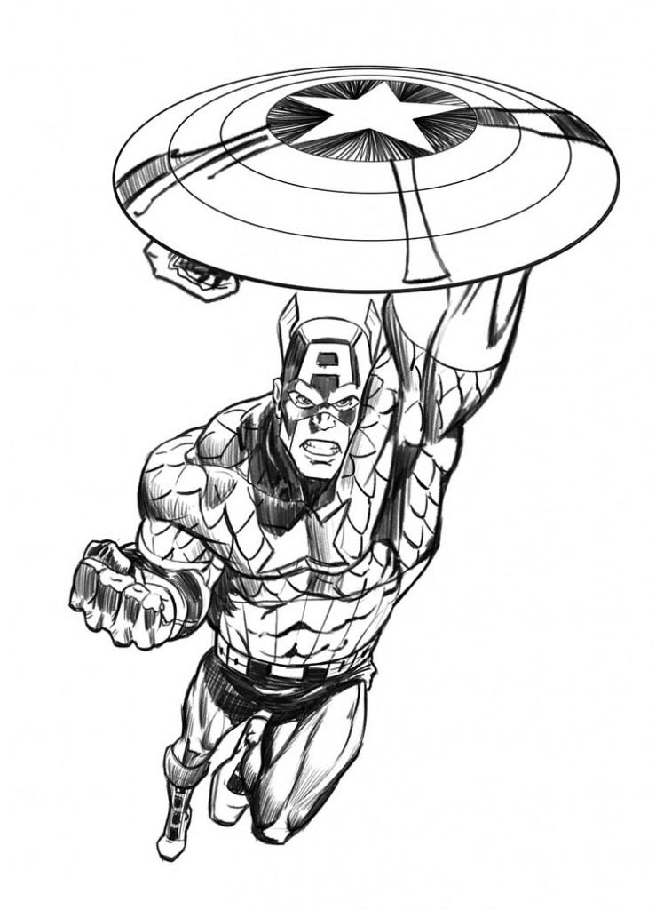 caputao america colorir 739x1024 Desenhos para Colorir da Liga da Justiça: Personagens para Pintar