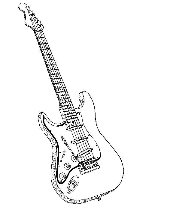 guitarra para colorir Desenhos para Colorir de Instrumentos Musicais Piano, Violão, Sax etc