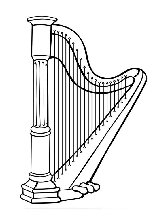 harpa para colorir Desenhos para Colorir de Instrumentos Musicais Piano, Violão, Sax etc