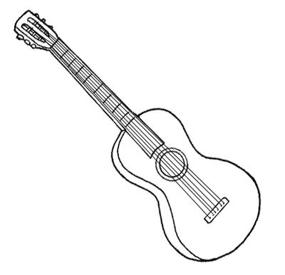 violao para colorir Desenhos para Colorir de Instrumentos Musicais Piano, Violão, Sax etc