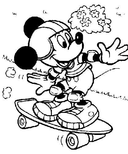 mickey skate Desenhos para Colorir de Skate: Imagens de Skatistas para Pintar