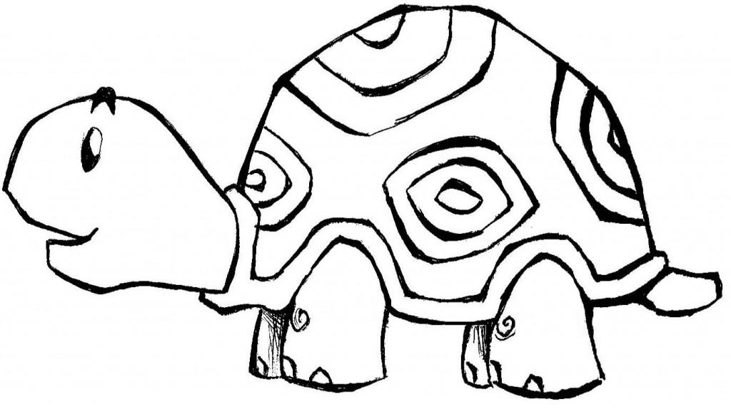 desenho de tartaruga 1024x574 Desenhos de Animais Fofos para Colorir: Imagens para Imprimir e Pintar