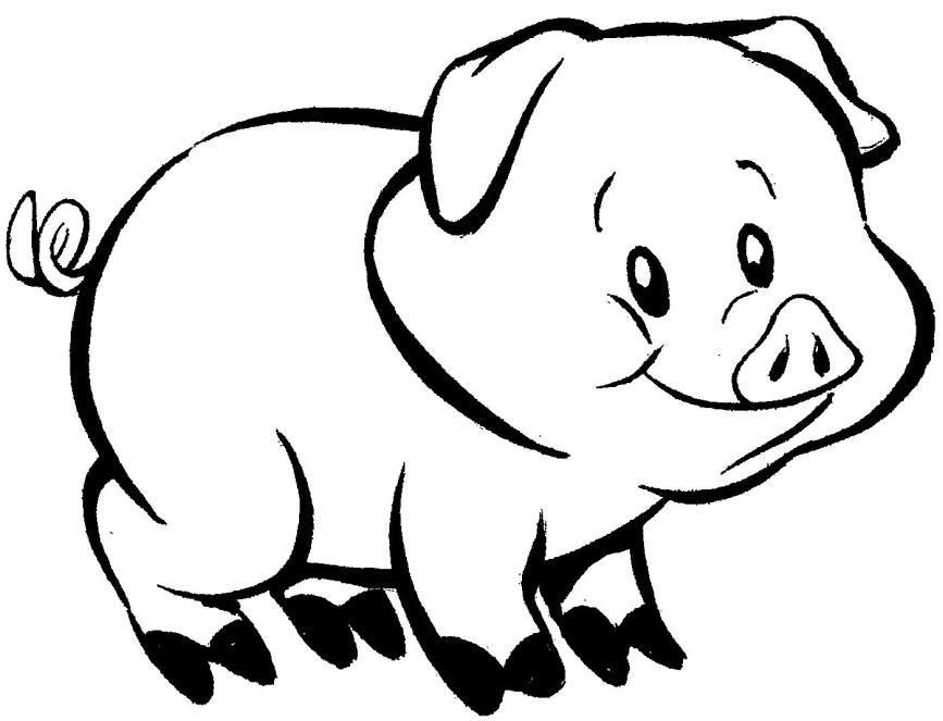 desenho pra colorir porquinho Desenhos de Animais Fofos para Colorir: Imagens para Imprimir e Pintar