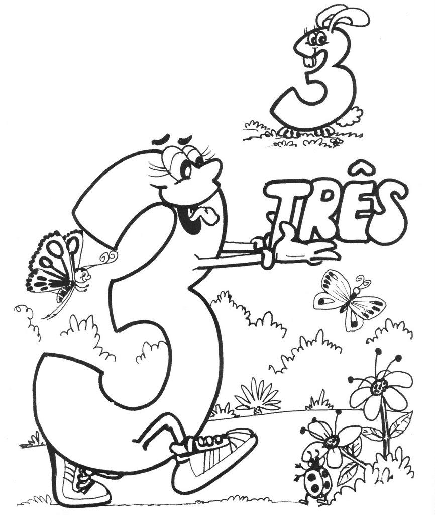 numero3 Desenho para Colorir Números de 0 a 9: Lindos para Imprimir e Pintar