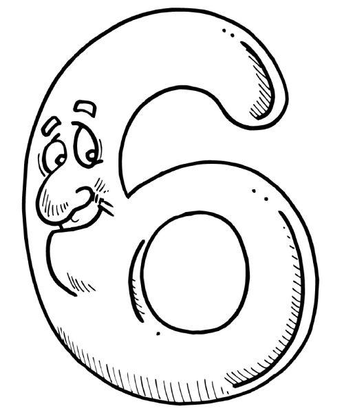 numero6 Desenho para Colorir Números de 0 a 9: Lindos para Imprimir e Pintar