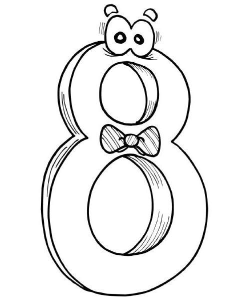 numero8 Desenho para Colorir Números de 0 a 9: Lindos para Imprimir e Pintar