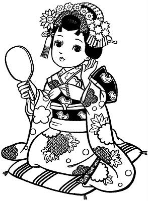 Meninas Japonesas Para Colorir Gueixas E Garotas De Kimono Pra Pintar