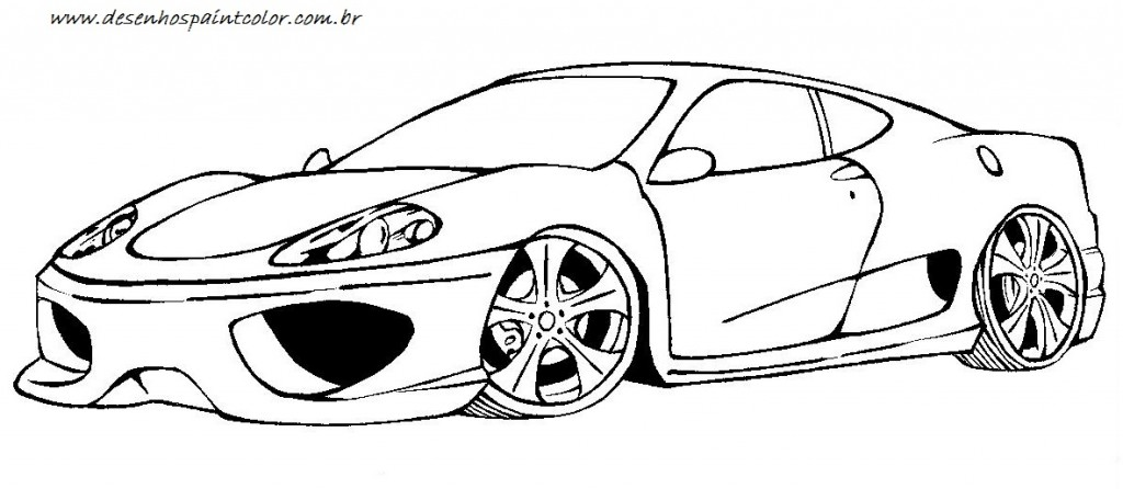 ferrari colorir 1024x446 Desenhos de Ferrari para Colorir: Carros para Imprimir e Pintar Online