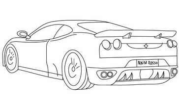 traseira ferrari colorir Desenhos de Ferrari para Colorir: Carros para Imprimir e Pintar Online