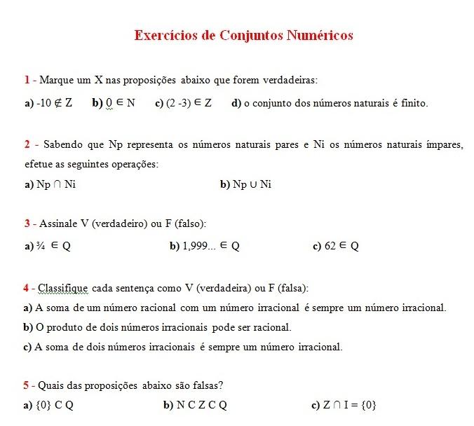 exercicios de conjuntos numericos Conjuntos Numéricos Exercícios com Respostas: Explicação e Atividades