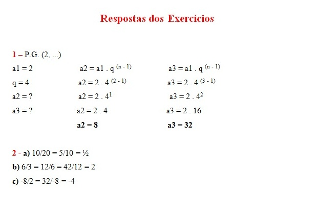 exercicios pg respostas P.G. Exercícios com Respostas: Resolvidos de Progressões Geométricas
