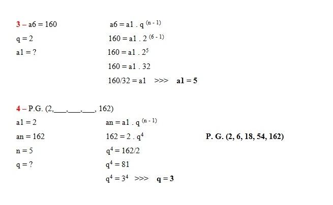 exercicios respostas P.G. Exercícios com Respostas: Resolvidos de Progressões Geométricas