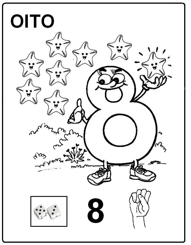 oito libras Desenhos para Colorir em LIBRAS: Numeros Online para Imprimir e Pintar