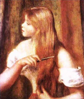 Jovem Menina Penteando seu Cabelo