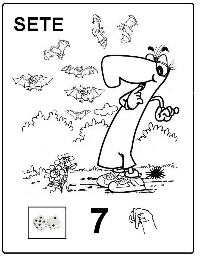 sete libras Desenhos para Colorir em LIBRAS: Numeros Online para Imprimir e Pintar