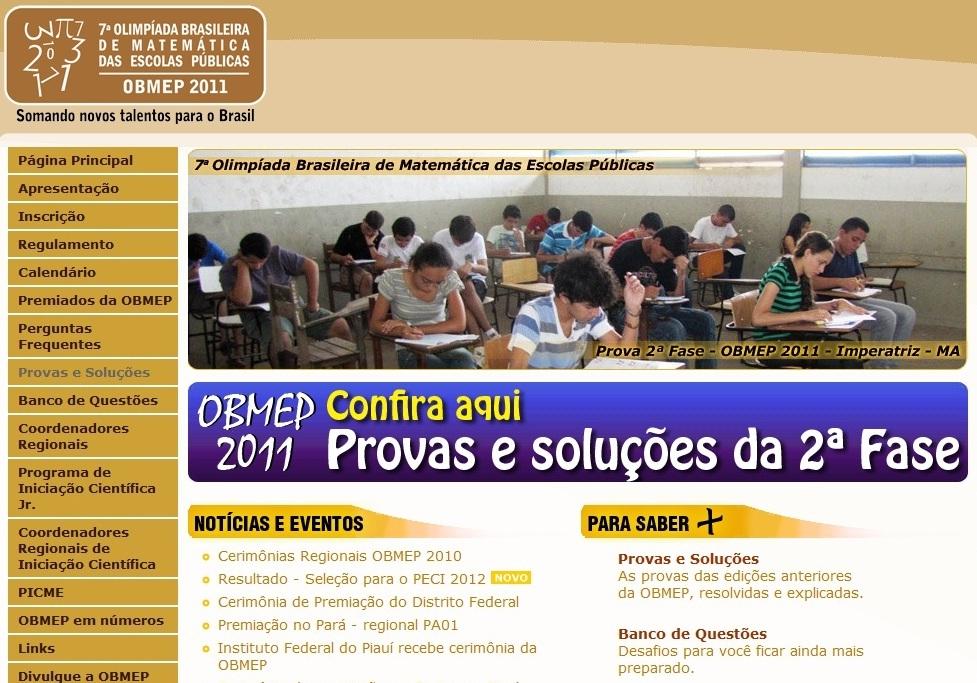 site obmep OBMEP 2013: Provas, Gabaritos, Resoluções, Datas e Premiações no Site