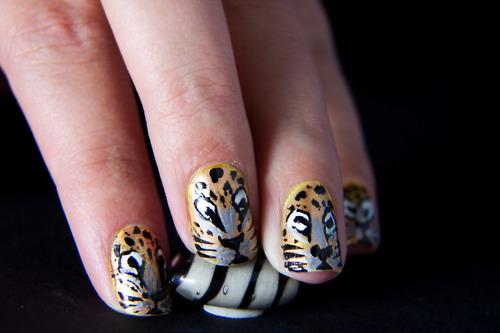 unhas onca nail art Nail Art de Animais: Fotos de Unhas com Desenhos de Vaca, Onça, Girafa