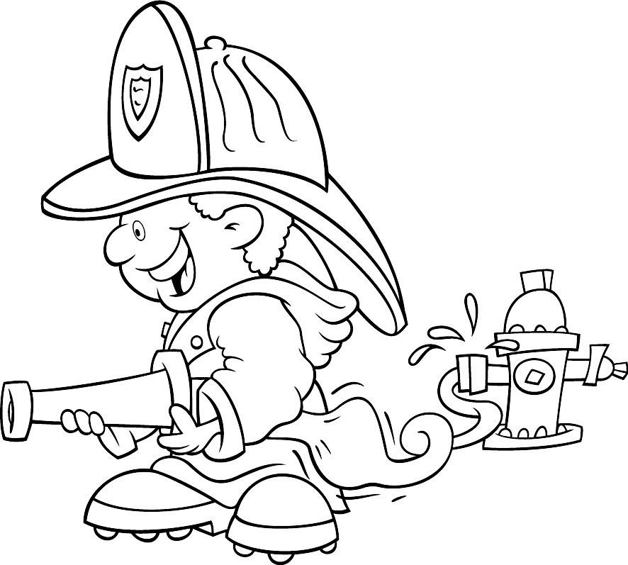 desenho colorir bombeiro Desenhos para Colorir de Profissões: Médico, Bombeiro, Professor etc