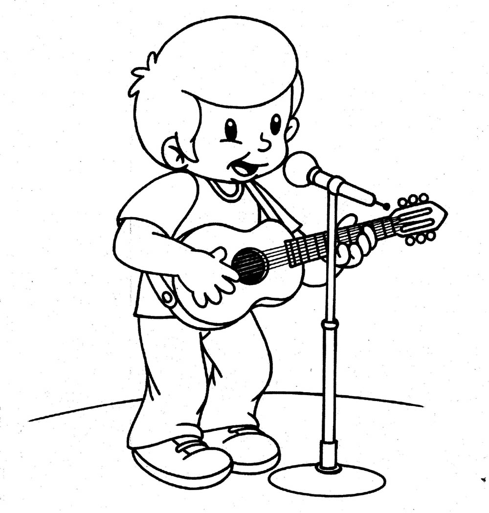 desenho colorir cantor Desenhos para Colorir de Profissões: Médico, Bombeiro, Professor etc