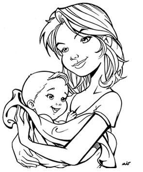mae e filho Desenhos para Colorir do Dia das Mães: Imagens Online