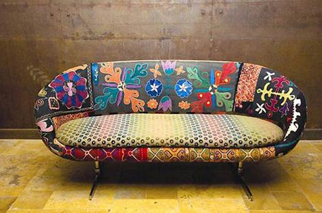 sofa colorido Sofás Estampados Coloridos: Modelo Chesterfiel, Floral