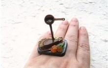 Anéis Engraçados de Comidas: Refeições Divertidas, Modelos de Jóias