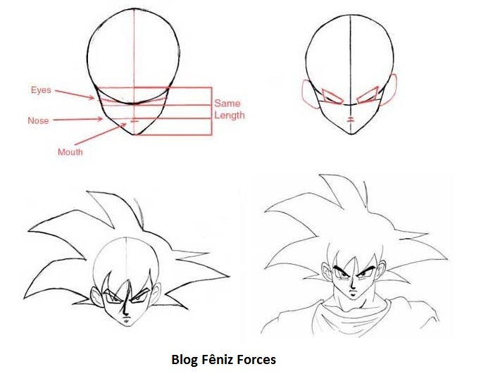 cabeca dragon ball z Como Desenhar Dragon Ball Z: Video e Moldes Mangá Anime, Passo a passo