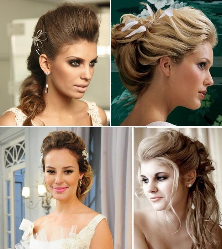 penteados noivas topete Penteados com Topete para Noivas: Lindos Modelos Presos e Soltos Fotos