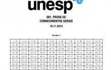 Gabarito Oficial Unesp – Respostas da Prova 16/11/2014
