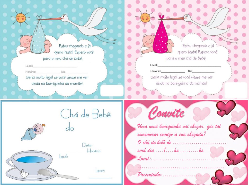 Convites Para Chá De Bebê Como Fazer Modelos E Moldes Para Imprimir